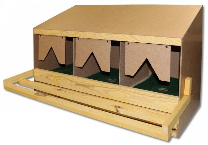 Legnest grote kippen, 3 legplaatsen, (3-vaks boven-deel)